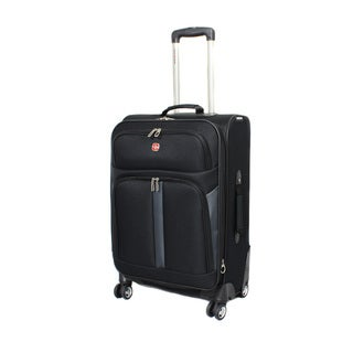 Swiss Gear Saxon Collection 18.5-inch Spinner Carry-On Upright - Black with Grey