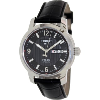 Tissot Men's PRC 200 T014.430.16.057.00 Black Leather Swiss Automatic Watch with Black Dial