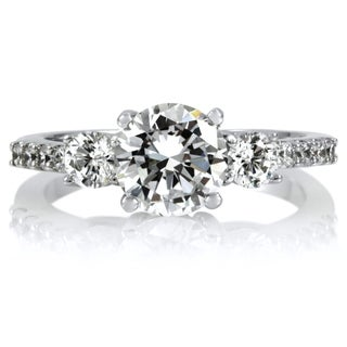 Sterling Silver Cubic Zirconia 3-stone Engagement-style Ring