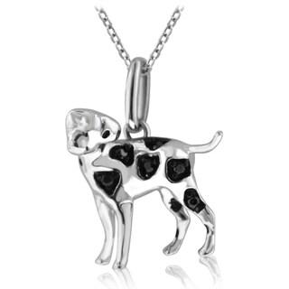 ASPCA Tender Voices Silver Black Diamond Dalmatian Dog Necklace