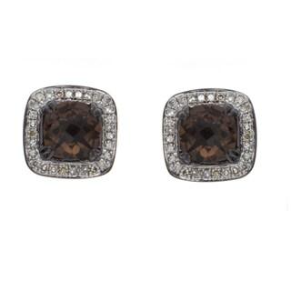 Sterling Silver Smokey Quartz and 1/3ct TDW White Diamond Earrings (J-K, I2-I3)