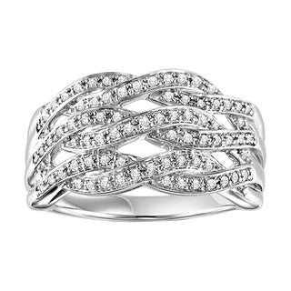 Cambridge Sterling Silver 1/3ct TDW Woven Intertwined Diamond Band