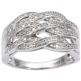 Cambridge Sterling Silver 1/3ct TDW Woven Pave Diamond Ring