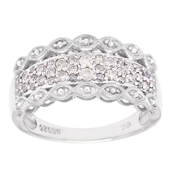 Cambridge Sterling Silver 3/8ct TDW Pave Lace-Inspired Diamond Ring