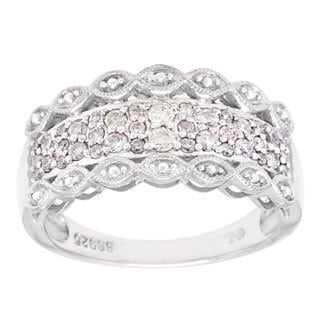 Cambridge Sterling Silver 3/8ct TDW Pave Diamond Ring
