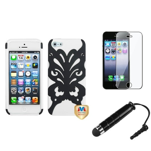 INSTEN Clear Screen Protector/ Stylus/ Hybrid Phone Case Cover for Apple iPhone 5