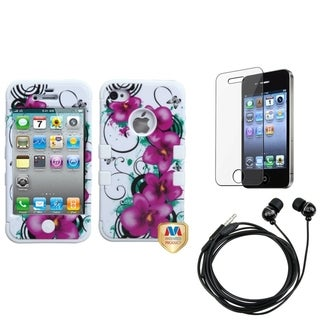 INSTEN Clear Screen Protector/ Headset/ Hybrid Phone Case Cover for Apple iPhone 4/ 4S