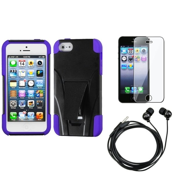 INSTEN Clear Screen Protector/ Headset/ Armor Stand Phone Case Cover for Apple iPhone 5