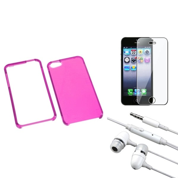 INSTEN Clear Screen Protector/ Headset/ Hot Pink Phone Case Cover for Apple iPhone 5