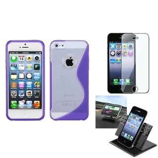 INSTEN Car Dashboard Holder/ TPU Gummy Phone Case for Apple iPhone 5/ 5S/ SE