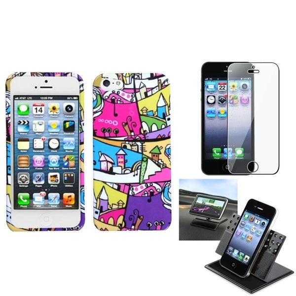 INSTEN Clear Screen Protector/ Foreign Building Phone Case Cover for Apple iPhone 5