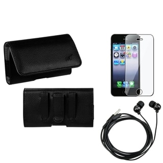 INSTEN Clear Screen Protector/ Headset/ Textured Pouch for Apple iPhone 5/ 5S/ 5C