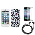 BasAcc Screen Protector/ Headset/ Leopard Case for Apple iPhone 5