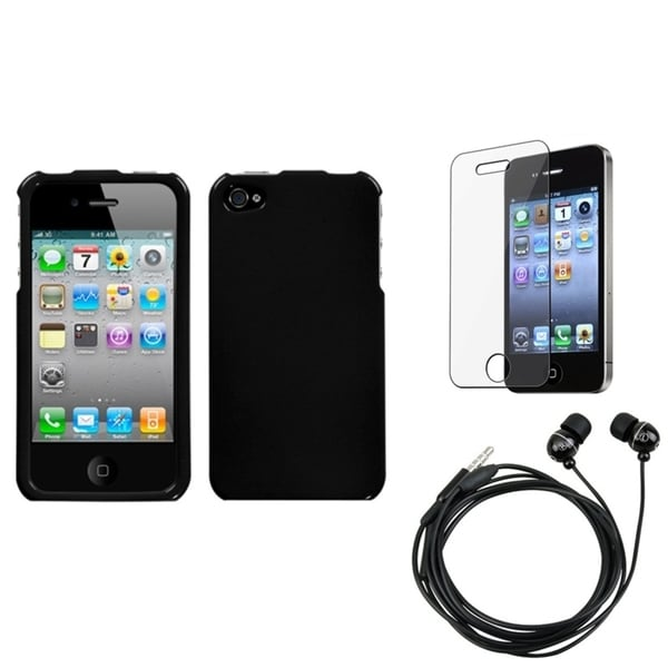 INSTEN Clear Screen Protector/ Headset/ Black Phone Case Cover for Apple iPhone 4/ 4S