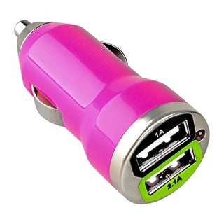 BasAcc Hot Pink Universal Dual USB Mini Car Charger Adapter