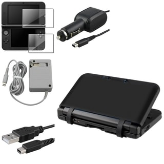 BasAcc Black Case/ LCD Protector/ Charger Set for Nintendo 3DS XL