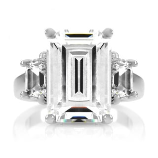 Sterling Silver Emerald Cut Engagement Ring