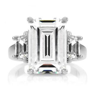 Emiations 5.5ct Emerald Cut CZ Silvertone Ring