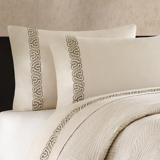 Artology 'Makie' 300 Thread Count Light Taupe Embroidered Sheet Set