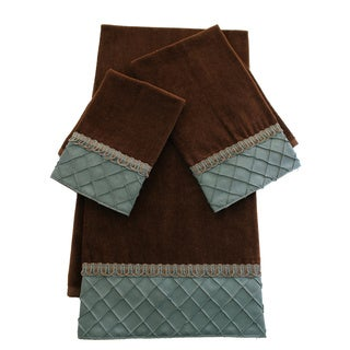 Sherry Kline Pleated Diamond Brown/ Blue 3-piece Embellished Towel Set