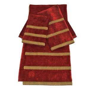 Sherry Kline Triple Row Gimp Red 3-piece Towel Set
