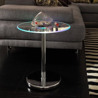 Inspire Q Caley Modern Round LED End Table