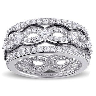 Miadora Sterling Silver Princess-cut Cubic Zirconia Ring