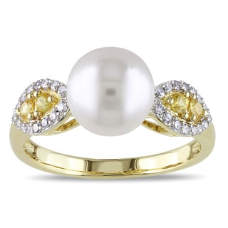 Miadora 10k Gold Pearl, Sapphire and 1/6ct TDW Diamond Ring (H-I, I2-I3)