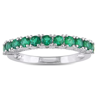 Miadora Sterling Silver Created Emerald Eternity Ring