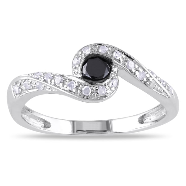 Haylee Jewels Silver 1/4ct TDW Black and White Diamond Ring (H-I, I2-I3)