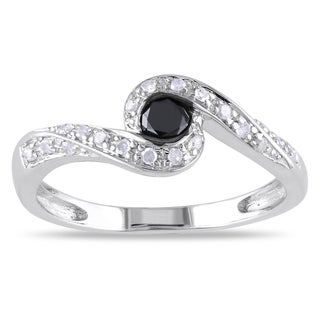 M by Miadora Silver 1/4ct TDW Black and White Diamond Ring (H-I, I2-I3)