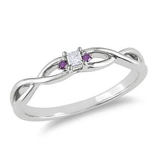 Miadora 10k White Gold Diamond Accent White and Pink Diamond Promise Ring