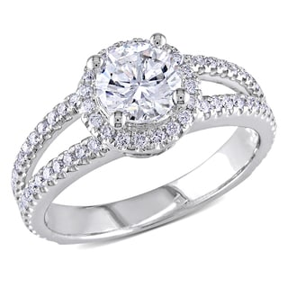 Miadora 14k White Gold 1 1/2ct TDW Certified Halo Diamond Ring (E, SI2)