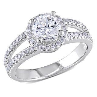 Miadora 14k White Gold 1 1/2ct TDW Certified Halo Diamond Ring (E, SI2)