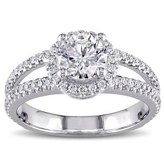 Miadora Signature Collection 14k White Gold 1 1/2ct TDW Certified Halo Diamond Ring (E, SI2, GIA)