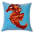Seahorse Hand-textured 16-inch Decorative Down Pillow