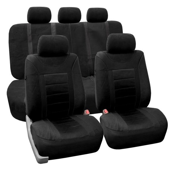 FH Group Black Airbag Compatible Sports Car Seat Covers (Full Set)
