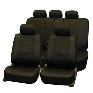 FH Group Deluxe Leatherette Black Airbag Compatible Seat Covers (Full Set)