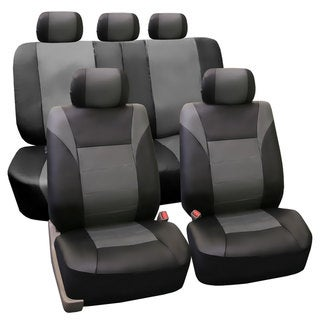FH Group PU Leather Gray Airbag Compatible Racing Seat Covers (Full Set)