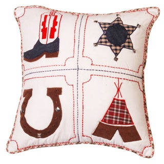 Cowboy and Sheriff Western Hand-textured 16-inch Decorative Pillow
