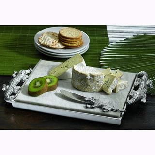 "15"" Crocodile Marble Cheese Tray & Spreader"