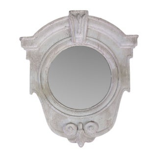 Cement Antique White Wall Mirror