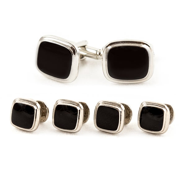 Black/ Silvertone Cuff Links