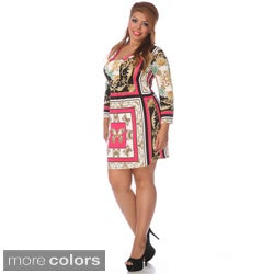 White Mark Plus Size Mix Print 'Florence' Dress