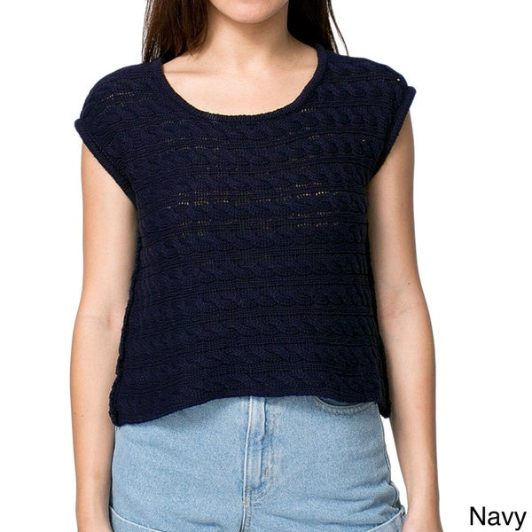 American Apparel Women's Cable Knit Short Sleeve Sweater (One size)