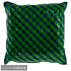 Vinyl Hand-textured 20-inch Decorative Down Pillow