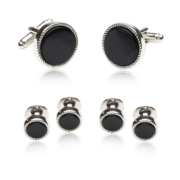 Black/ Silvertone Conservative Formal Cuff Link Set