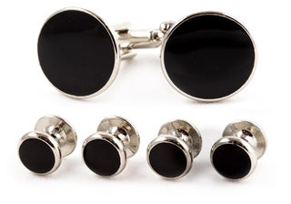 Black/ Silvertone Formal Cuff Link Set