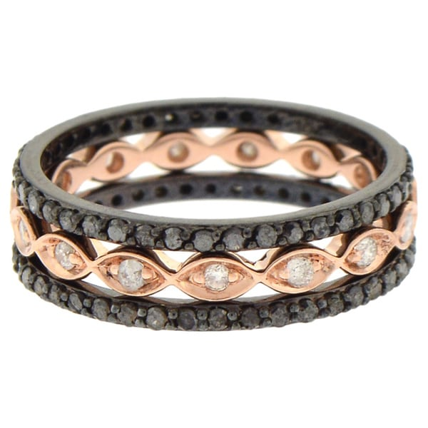 10k Gold 7/8ct TDW Black and White Diamond 3-Piece Stackable Ring Set