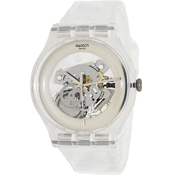 Swatch Men's Originals SUOK105 Clear Plastic Swiss Quartz Watch with Silver Dial